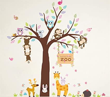 Fymural Cartoon Kid Bedroom Decor Forest Giraffe Monkey Owls Hedgehog Rabbit Tree Wall Sticker Baby Swing Nursery Murals Decals Diy Vinyl Removable