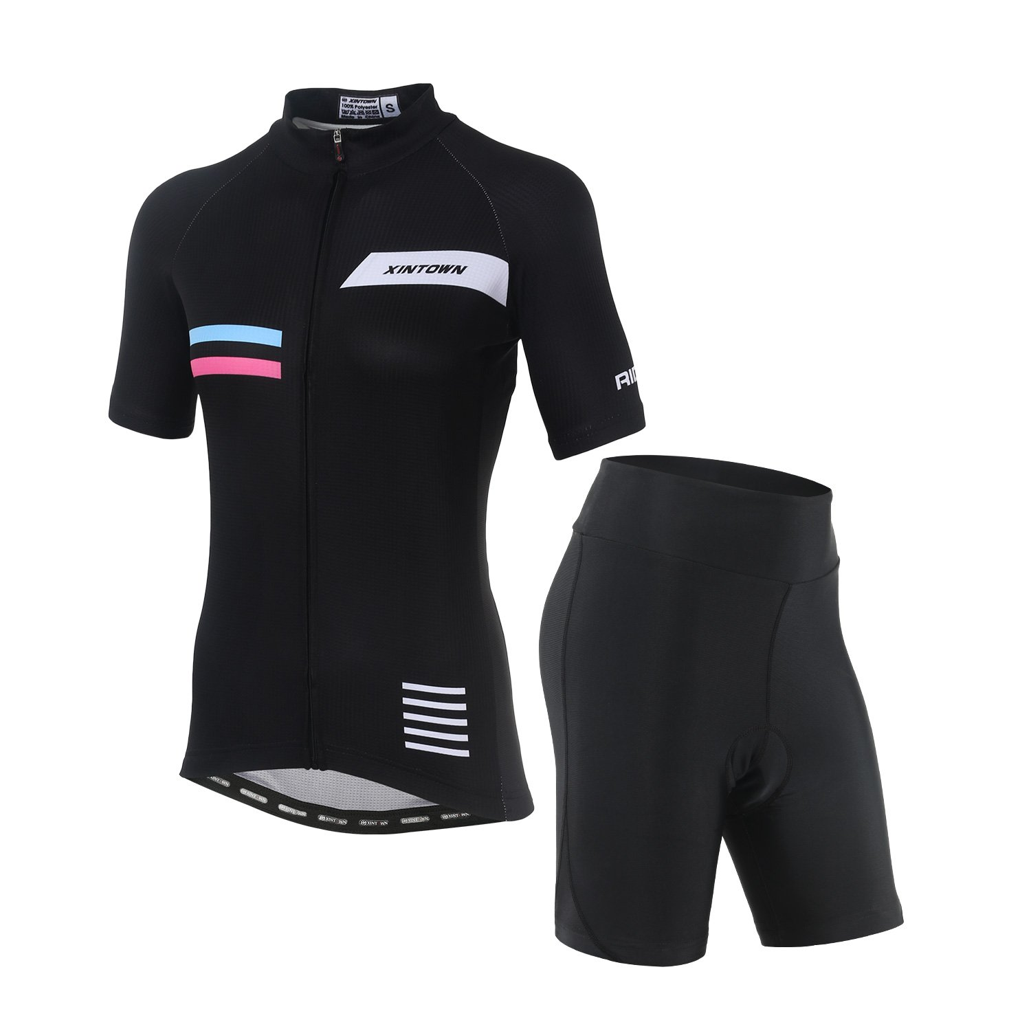 DuShow Women's Short Sleeve Cycling Jersey/Bicycle Top and 3D Padded Shorts Set (XXL, Elegant) by DuShow
