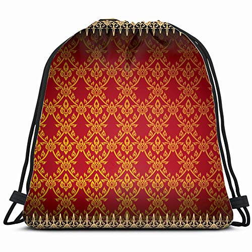 - thai traditional art Drawstring Backpack Gym Sack Lightweight Bag Water Resistant Gym Backpack for Women&Men for Sports,Travelling,Hiking,Camping,Shopping Yoga