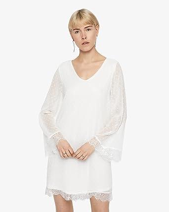 ONLY Dream Kleid, Damen, 40, Altweiß: Amazon.de: Bekleidung