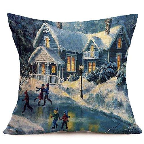 Merry Christmas Throw Pillow Cover Snow Scene Cushion Case 18 x 18 inch Decorative Sofa