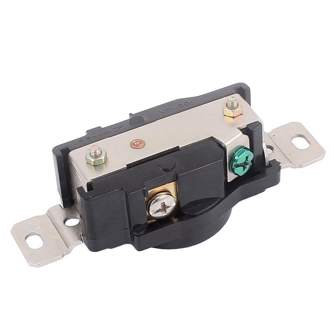 DealMux 125V 20A Twist Lock Straight Tamper Resistant Receptacle Black