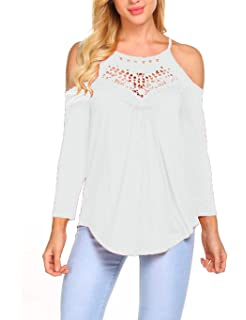 539c0031b67 Women s Casual Tops Lace Off Shoulder Long Sleeve Blouse Shirts Loose Flowy Tunic  Top