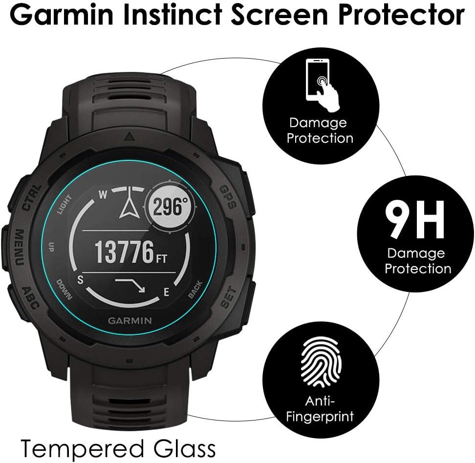 2 Pack for Garmin Instinct Tempered Glass Screen Protector 3D Tempered Glass Screen Protector Frontier Protective Protector Clear Cover for Garmin Instinct