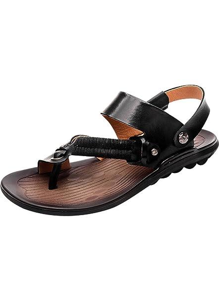 Youlee Hombres Cuero Chancletas Ponerse Sandalias Para Verano: Amazon.es:  Zapatos y complementos