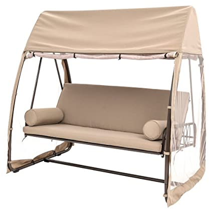 TrueShade Plus Backyard Patio Seat With Mosquito Netting Swinging Seat Bench  With Pillows, Armrests,