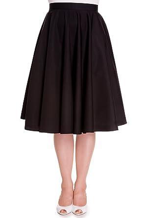 9c438031d30841 Hell Bunny Plus Retro 60's Office Lady Basic Swing Circle Skirt (3XL, Black)