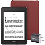 Kindle Paperwhite Essentials Bundle including Kindle Paperwhite - Wifi, Ad-Supported, Amazon Leather Cover, and Power Adapter