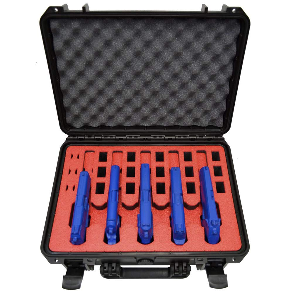 5 Pistol 18 Magazine Doro Waterproof Heavy Duty Gun Case with Custom MyCaseBuilder Foam Insert with Red Topper by MY CASE BUILDER