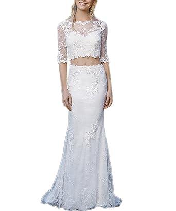fe0fbcdfe13 APXPF Women s Sheath Two Piece Lace Illusion Neck Wedding Dress Bride Gown  Ivory US2