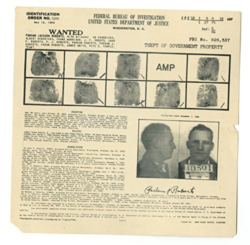 Wanted Notice   Parham Roberts Theft Of Government Property   Fbi   1943