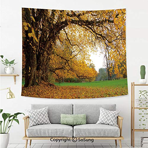 SoSung Fall Wall Tapestry,Autumnal Park with Big Ancient Oak Tree and Deciduous Leaves Greenery,Bedroom Living Room Dorm Wall Hanging,92X70 Inches,Earth Yellow Brown Green