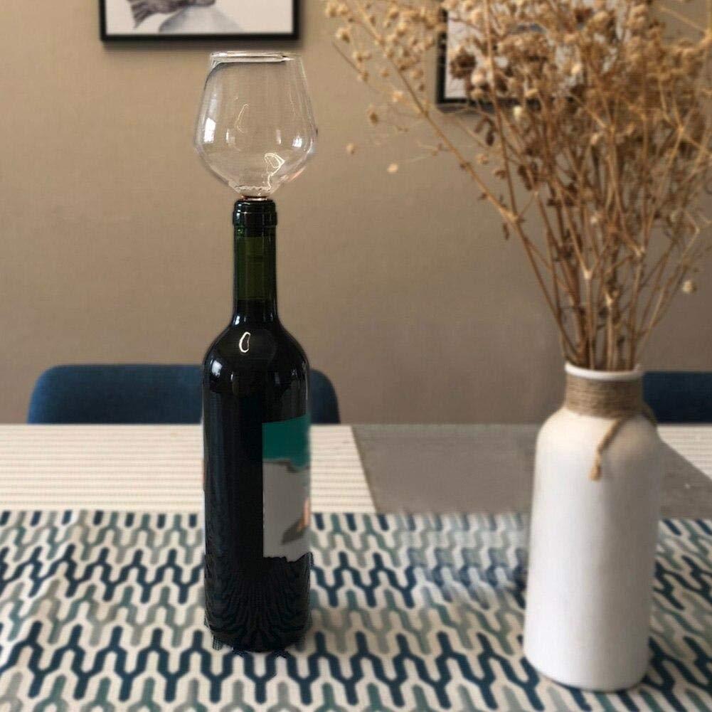 Angoter Creativa del Vino Rosso di Champagne Tazza di Vetro con Guarnizione in Silicone Bere Direttamente dalla Bottiglia Bicchiere di Cristallo della Tazza del Cocktail
