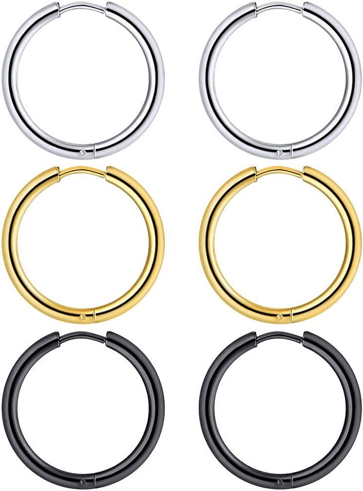 Men Women Stainless Steel Surgical Ear Piercing Jewelry,1-4 Pairs 10mm-70mm Small Medium Large Loop Hoop Earrings
