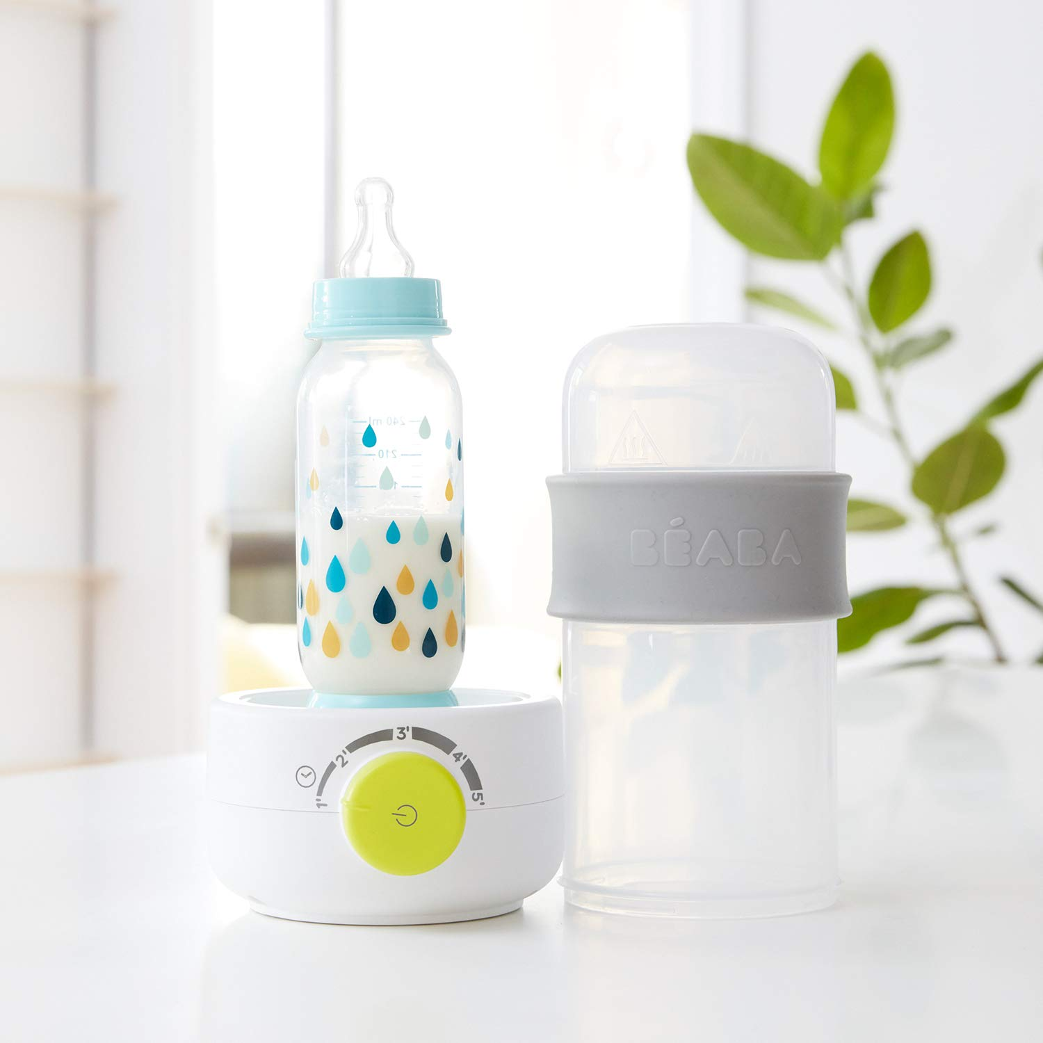BEABA Quick Baby Bottle Warmer, Steam Sterilizer, Baby Food Heater (3-in-1) Warm Milk in Just Two Minutes, BPA and Lead Free, Simple Temperature Control, Fits All Bottle Sizes - Even Wide Neck (Cloud) by BEABA