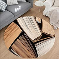 Nalahome Modern Flannel Microfiber Non-Slip Machine Washable Round Area Rug-Pile of Old Books Research Reading Library Education Literature Theme Picture Brown Beige area rugs Home Decor-Round 43