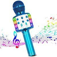 Micrófono de Karaoke Inalámbrico, Bluetooth Micrófono 4 en 1 Reproductor de Karaoke Portátil con Luces LED de Baile…