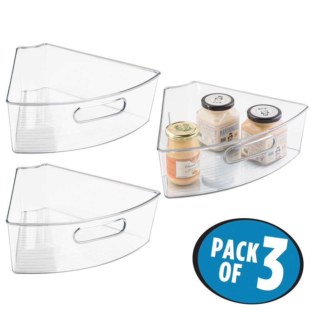 mDesign Kitchen Cabinet Lazy Susan Storage Organizer Bin with Front Handle - Medium Pie-Shaped 1/6 Wedge, 4'' Deep Container - Food Safe, BPA Free - Pack of 3, Clear by mDesign (Image #1)