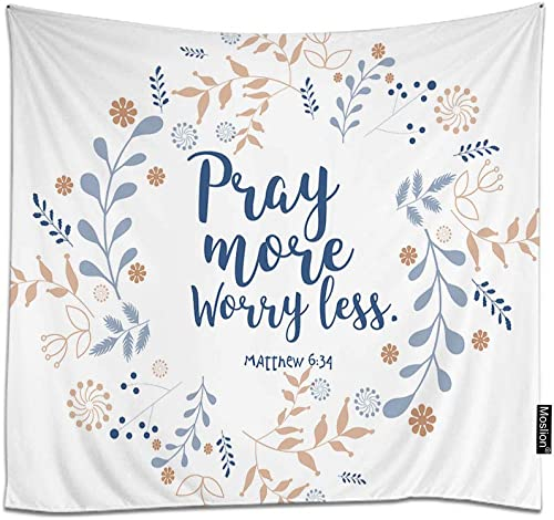 Moslion Pray More Worry Less Tapestry Floral Wreath Bible Quote Christian Verse Faith Style Wall Hanging Tapestry for Living Room Bedroom Dorm Home Decorative Polyester 90W x 60H