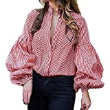 Gyoume Stand Collar Shirts Women Lady Office Work Outwears Lantern Sleeve Blouse Plaid Sweatshirts