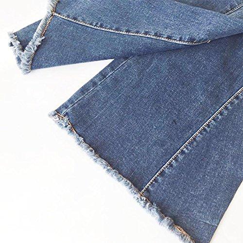 D'elefante Retro Bell elastico Jeans Micro Nappe Pantaloni Blu Zampa Mena A Donna bottom OTfqRR