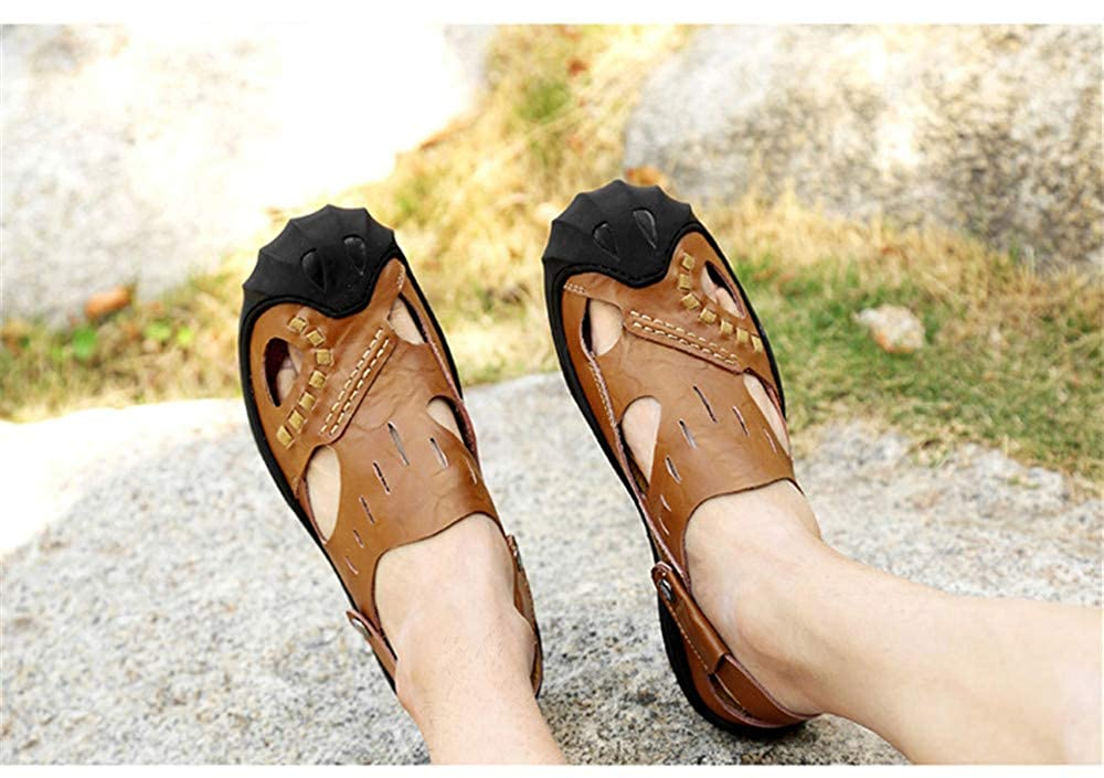 Brown,Lable 44//9 D M Mens Leather Sandals Comfortable Soles Breathable US Men