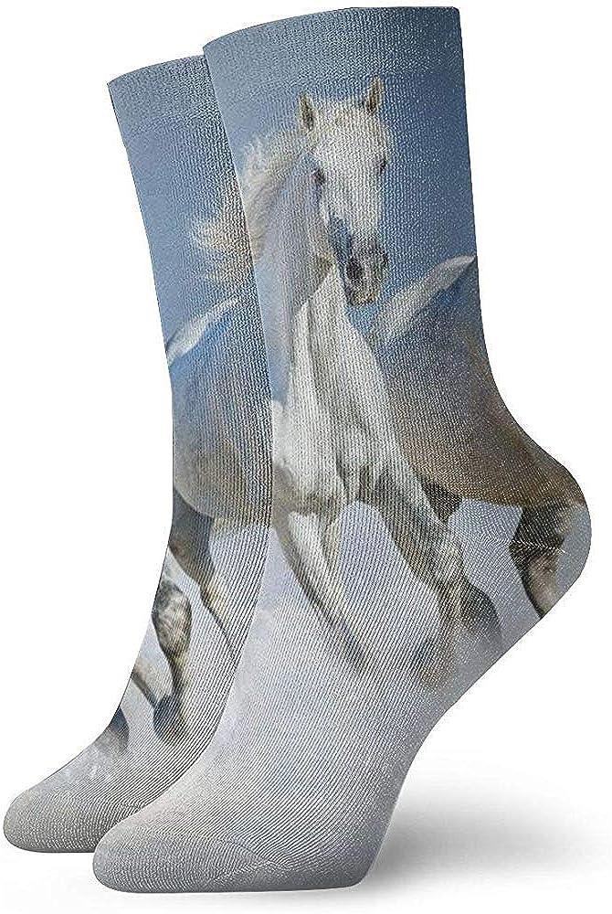 Grupo de hermosos caballos árabes galopan en la nieve Calcetines de campo de invierno Calcetines de cuello unisex Calcetines de vestir