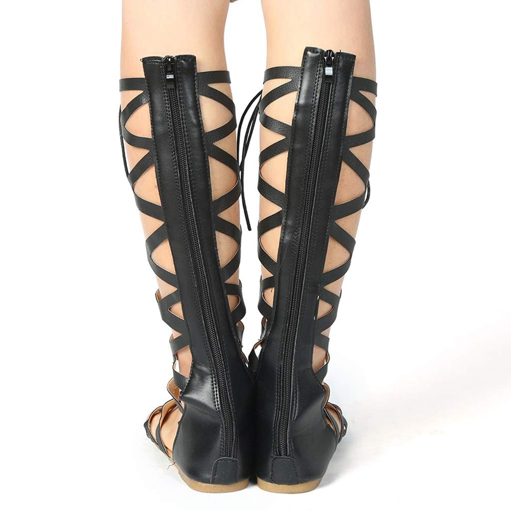 Women Casual Flats Knee High Boots - Ladies Fashion Roma Shoes Summer Sandals,2019 New by WOMEN SHOES BIG PROMOTION-SUNSEE (Image #8)