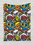 asddcdfdd Superhero Tapestry, Comics Speech Bubbles Beep Wow with Vivid Old Effects Boys Supernatural Print, Wall Hanging for Bedroom Living Room Dorm, 60 W X 80 L Inches, Multicolor