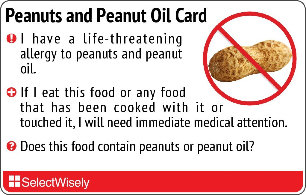 Peanuts and Peanut Oil Allergy Translation Card - Translated in Thai or any of 60 languages