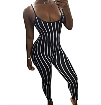 2f852e63f38b Women s One Piece Stripe Spaghetti Strap Bodycon Leotard Jumpsuits Rompers  Playsuit (US 4 (S