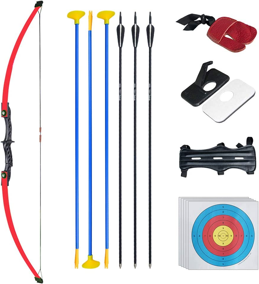 Tongtu 52 Recurve Bow and Arrows for Kids 18 Lb Practice Toy Archery Set Outdoor Beginner Gift Longbow Kit for Teen Boys and Girls