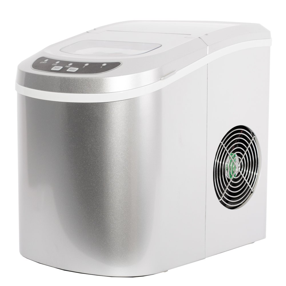 SMETA Portable Counter Top Ice Maker Machine, Produces 26 lb/day Two Ice Cube Sizes, Silver Simate SDZB-12A