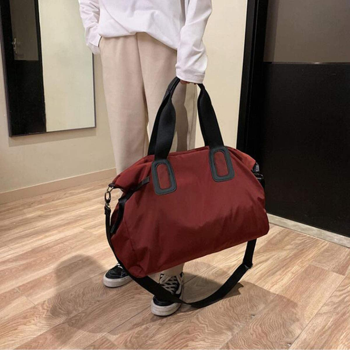 Kaiyitong Sports Bag Portable Sports Gym Bag Size: 482238cm Color : Wine red Mens Large-Capacity Travel Short-Distance Travel Boarding Duffel Bag