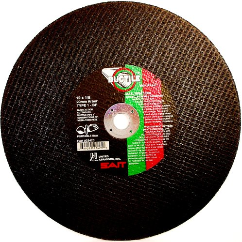 United Abrasives- SAIT 23425 Type 1 12-Inch x 1/8-Inch x 20mm 6300 Max RPM Ductile Portable Saw Cut-Off Wheel, 10-Pack ()
