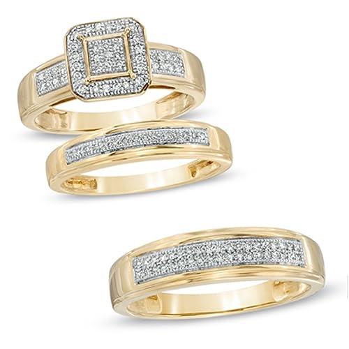 Octogonal marco Trio su y su juego de anillos de boda en plata de ley &