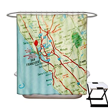 Map Shower Curtain Customized Vintage Of San Francisco Bay Area With Red Pin City Travel