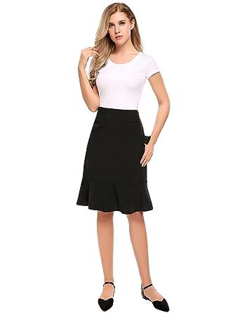 c6f5e1e0b Zeagoo Women Summer Office Pencil Skirt High Waist Black Mid Skirt ...
