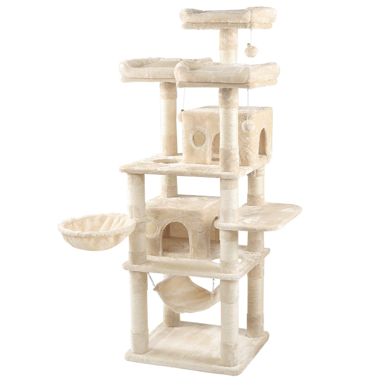 WLIVE 67'' Large Cat Tree Condo with Sisal Scratching Posts, 2 Plush Condos and 3 Padded Platforms, Cat Tower Furniture WF062A