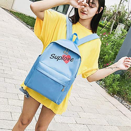 Fashion Tote Women Canvas School Backpack Shoulder Letter Bag Blue Bag Students fTfSwqA