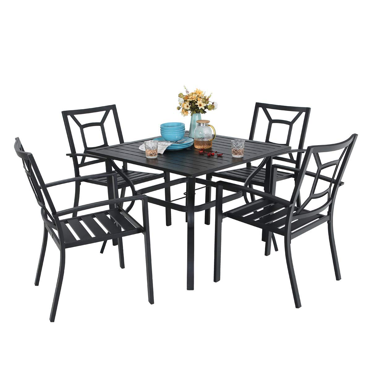 PHI VILLA 5 Piece Metal Patio Dining Set Armrest Dining Chairs and Larger Square Table Set, 37 Square Bistro Table and 4 Backyard Garden Chairs - Umbrella Hole 1.57 , Black