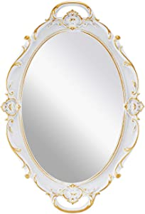 "OMIRO Decorative Wall Mirror, Vintage Carved Hanging Mirrors for Bedroom Living-Room Dresser Decor, Oval Antique White 10"" W x 15"""