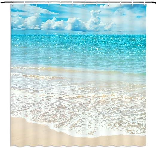 Blue Sky Ocean Beach Waterproof Fabric Shower Curtain Set Bathroom Mat Hooks