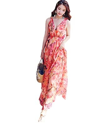 a3584909169 Medeshe Women s Sleeveless Boho Chiffon Floral Holiday Beach Bridesmaid  Maxi Dress Sundress (UK 6 to