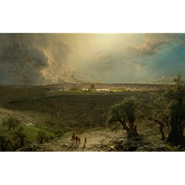 Berkin Arts Frederic Edwin Church Giclee Canvas Print Paintings Poster Reproduction Large Size(Jerusalem from The Mount Olives)