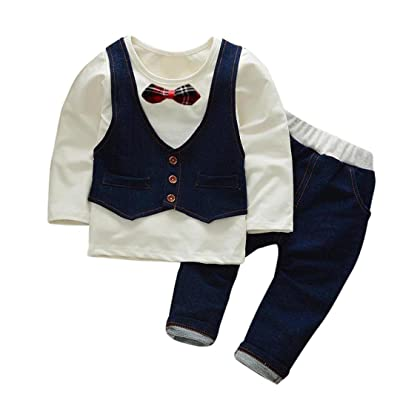 2pcs Toddler Baby Boys Gentleman Outfits Bow Tie Shirt+ Pants Vibola