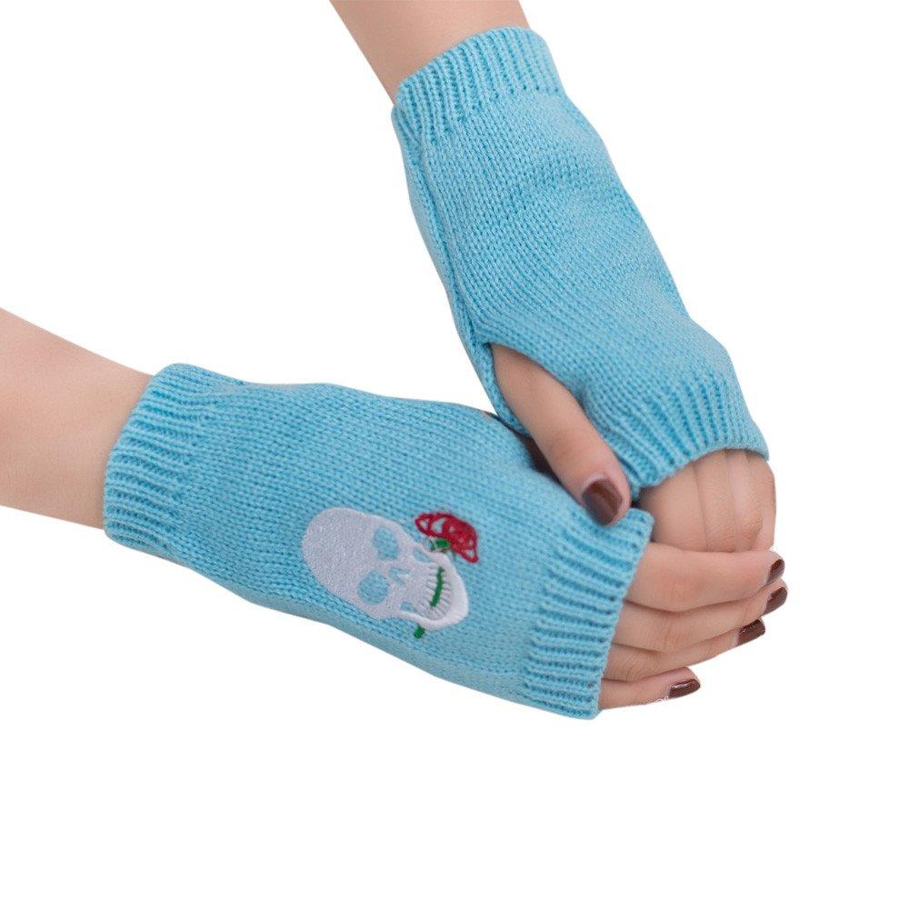 Webla Women Girl Skull Embroidery Wool Knitted Wrist Warmer Fingerless Winter Soft Warm Gloves Mitten MIA-111414