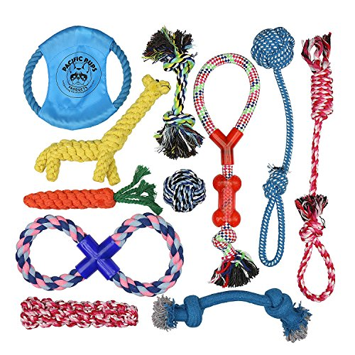 DOG ROPE TOYS FOR AGGRESSIVE CHEWERS – SET OF 11 NEARLY INDESTRUCTIBLE DOG TOYS – BONUS GIRAFFE ROPE TOY – BENEFITS NONPROFIT DOG RESCUE