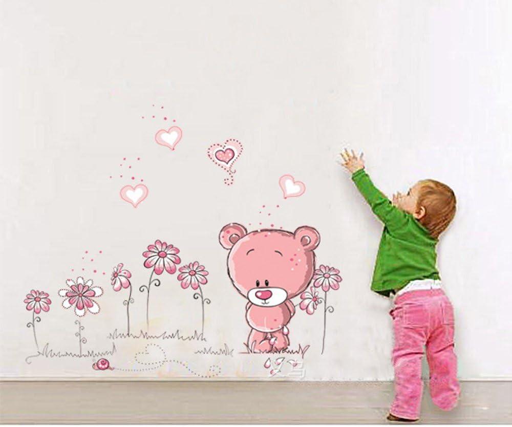 ufengke® Osos Rosados Lindos Aman Corazón Pegatinas de Pared, Vivero Habitación de Los Niños Removible Etiquetas de La Pared/Murales