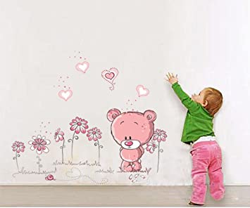 Wandbilder Kinderzimmer ufengke niedlichen rosa bären lieben herz wandsticker kinderzimmer